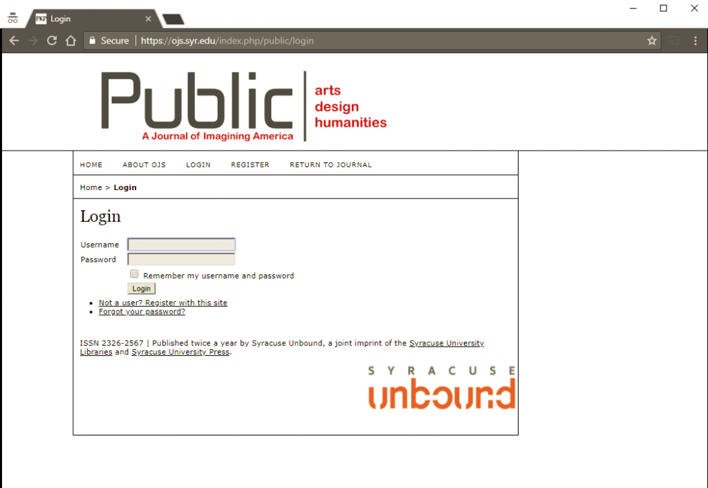 PUBLIC submission process screenshot.