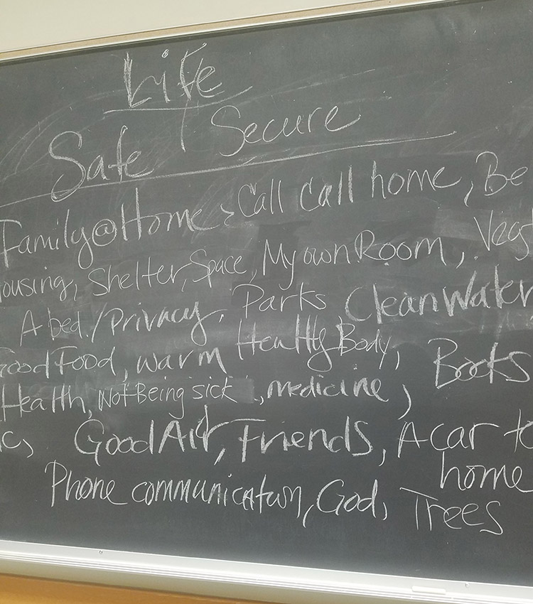 "Figure 1: Class answers to Robert Brooks's question, ""What really makes you feel safe and secure in the world?"""